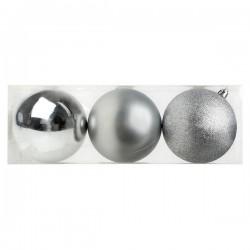 Vánoční baňky - stříbrné - 10 cm - 3 ks