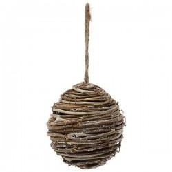 Vánoční baňka dřevěná - 12 cm - 1 ks