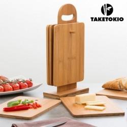 Set bambusových krájecích desek ve stojanu - 7 ks - TakeTokio