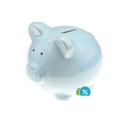 Keramická pokladnička na peníze - modré prasátko