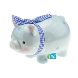 Keramická pokladnička na peníze - modré prasátko s mašlí