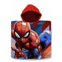 Dětské pončo s kapucí - Spiderman - pruhy - 120x60 cm