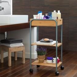 Odkládací bambusový vozík do koupelny