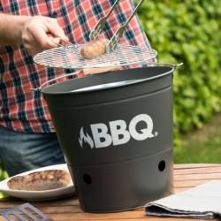 Gril na dřevěné uhlí - kbelík - BBQ