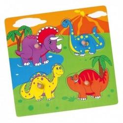 Dřevěné puzzle s úchyty pro nejmenší - Dino - Viga