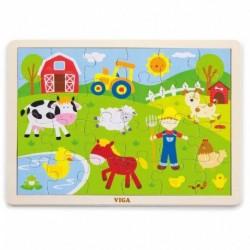 Dětské dřevěné puzzle - Farma - Viga