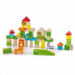 Dřevěné kostky pro děti - ZOO - 50 dílů - Viga