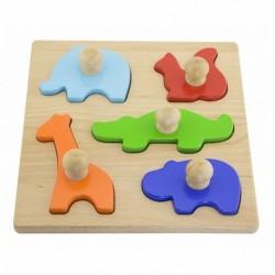Dřevěné vkládací puzzle s úchyty - Zvířátka - Viga