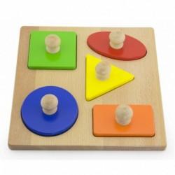 Dřevěné vkládací puzzle s úchyty - Tvary - Viga
