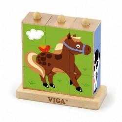 Dřevěné puzzle kostky - Farma - Viga