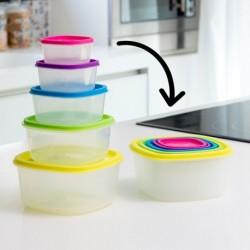 Sada plastových svačinových boxů Rainbow - 5 ks