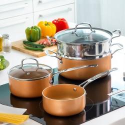 Sada nádobí s napařovačem Copper-Effect - 6 částí - InnovaGoods