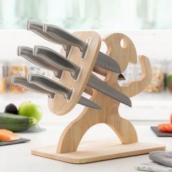 Sada nožů s dřevěným podstavcem Spartan - 7 ks - InnovaGoods