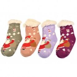 Dětské hřejivé domácí ponožky s protiskluzovou podrážkou - mix barev - 1 pár