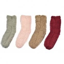 Dámské hřejivé domácí ponožky s protiskluzovou podrážkou - mix barev - 1 pár - Virgina