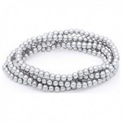 Dámský náramek s krystalovými perlami 144816 - stříbřitý