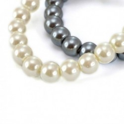 Dámský náramek s krystalovými perlami 147040 - bílý