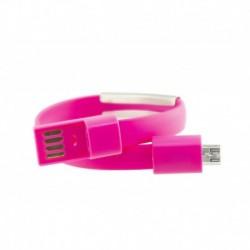 Náramek s Micro USB kabelem - 23 cm - růžový