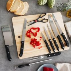 Sada nožů s brouskem a dřevěným prkénkem - 11 ks