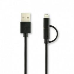 Kabel 2v1 - Lightning a Micro USB - 1 m - černý - Apei