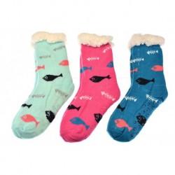 Dámské hrejivé ponožky s protiskluzovou podrážkou - mix barev - 1 pár - Looken