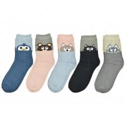 Dámské bambusové ponožky se zvířátkem - mix barev - 5 párů - Auravia