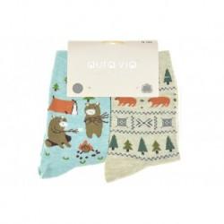 Dámské ponožky s medvídky - mix motivů - 2 páry - Auravia