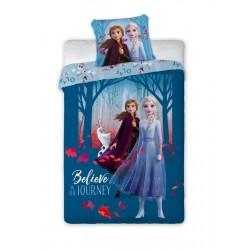 Bavlněné povlečení Ledové Království 2 - sestry - modré - 140 x 200 cm