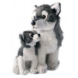 Plyšový vlk s mládětem - sedící - 27 cm - Rappa