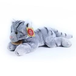 Plyšová ležící kočka - šedá - 18 cm - Rappa