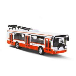 Kovový trolejbus na zpětný chod - 16 cm - červený - Rappa