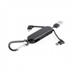 Klíčenka - USB kabel se dvěma konektory - černá