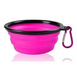 Silikonová skládací miska pro psy - růžová