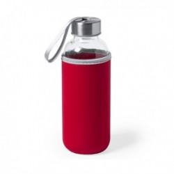 Skleněná lahev s neoprénovým pouzdrem 145513 - 420 ml - červená