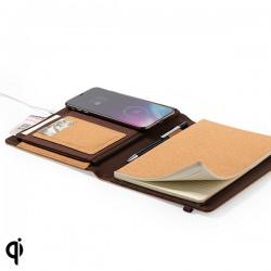 Poznámkový blok s bezdrátovou Qi nabíječkou - korkový