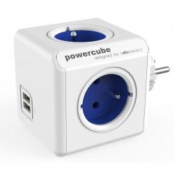 Rozbočovač Powercube s USB porty - modrý - Allocacoc