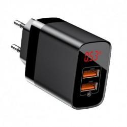 Nabíječka 3.0 CCJMHA-A01 - s displejem - 2x USB - 18 W - černá - Baseus