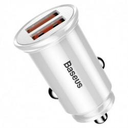 Autonabíječka 3.0 BS-C19Q1 - 2x USB - 30 W - bílá - Baseus