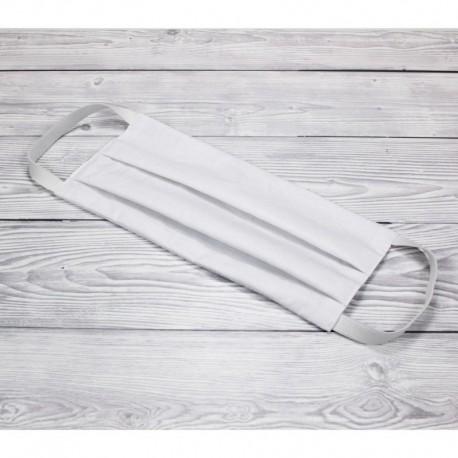 Bavlněná rouška s gumičkami - bílá