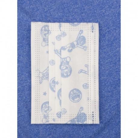 Jednorázová dětská hygienická rouška - bílá s modrými obrázky - 10 ks