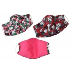 Textilní rouška na více použití s květinami - odstíny červené - 1 ks