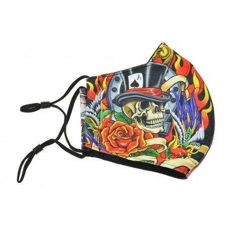 Textilní rouška na více použití - Lebka s kloboukem a smrťákem