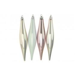 Vánoční šišky na stromeček - růžová perleť - 150 mm - 4 ks