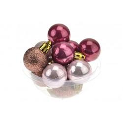 Vánoční baňky na stromeček - červená perleť - 30 mm - 12 ks
