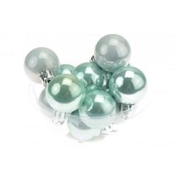 Vánoční baňky na stromeček - modrá perleť - 30 mm - 12 ks