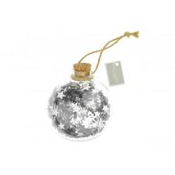 Koule s hvězdičkami - stříbrná - 9 cm
