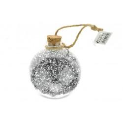 Koule s hoblinkami - stříbrná - 9 cm