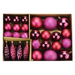 Velká sada vánočních kouliček - purpurová
