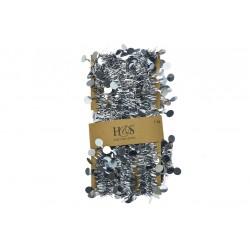 Vánoční řetěz - pozlátka - kovově stříbrné - 7 m
