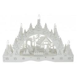 Vánoční svícen - dva kluci - bílý